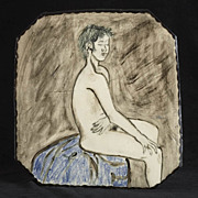 Ceramic Figure Study Plaque, signed Kirschner