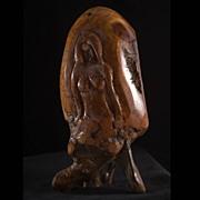 Exceptional Vintage Carved Redwood Burl Female Figurine