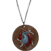 Vintage Signed Mid Century Enamel on Copper Medallion Necklace