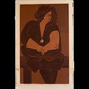 "1960's Bay Area Figurative Silkscreen Print ""Seated Lady"", signed Johnson"