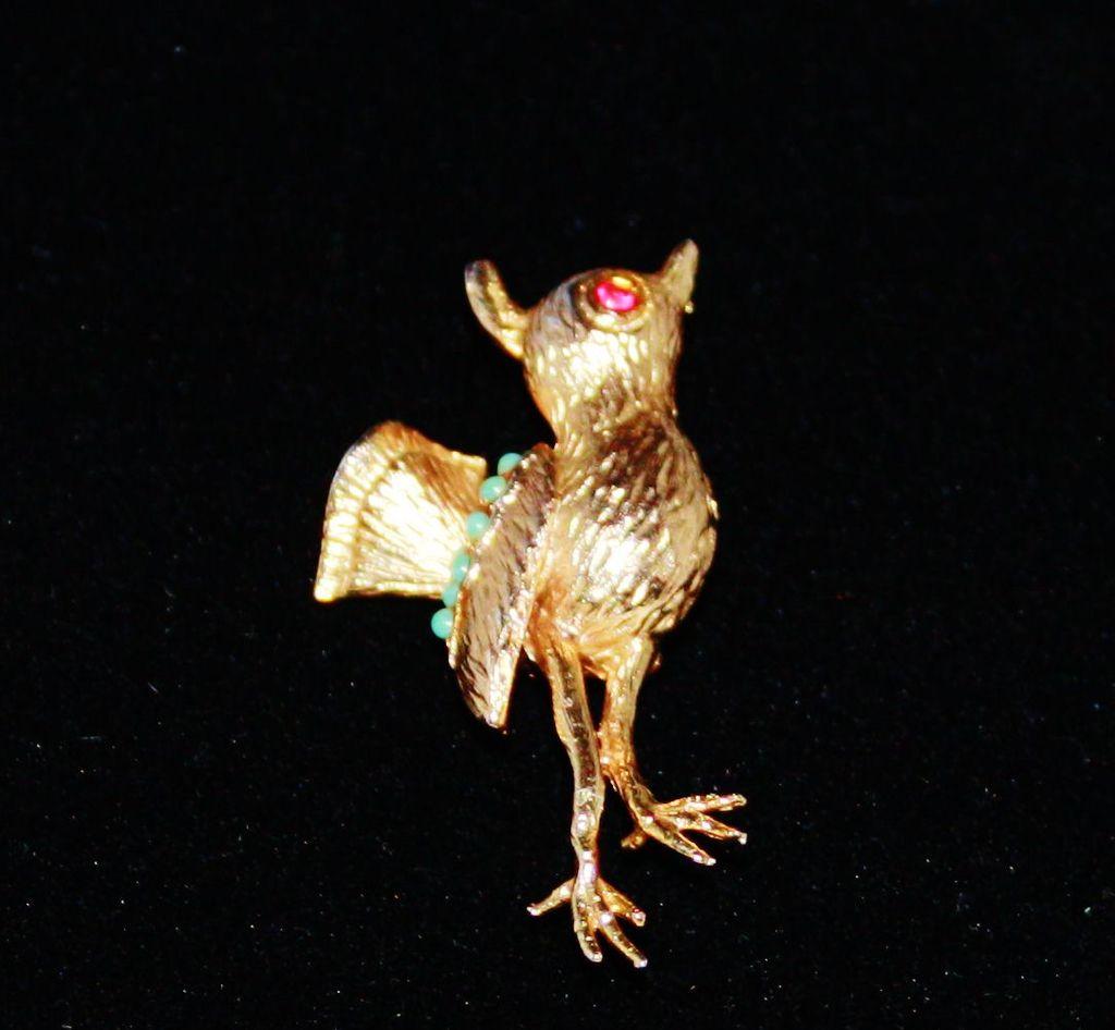 Vintage Goldtone Coro Glitter Bird Brooch Pin