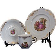 Vintage 3pc. Winterling Roslau Bavaria Courting Couple Gold Trim China Set