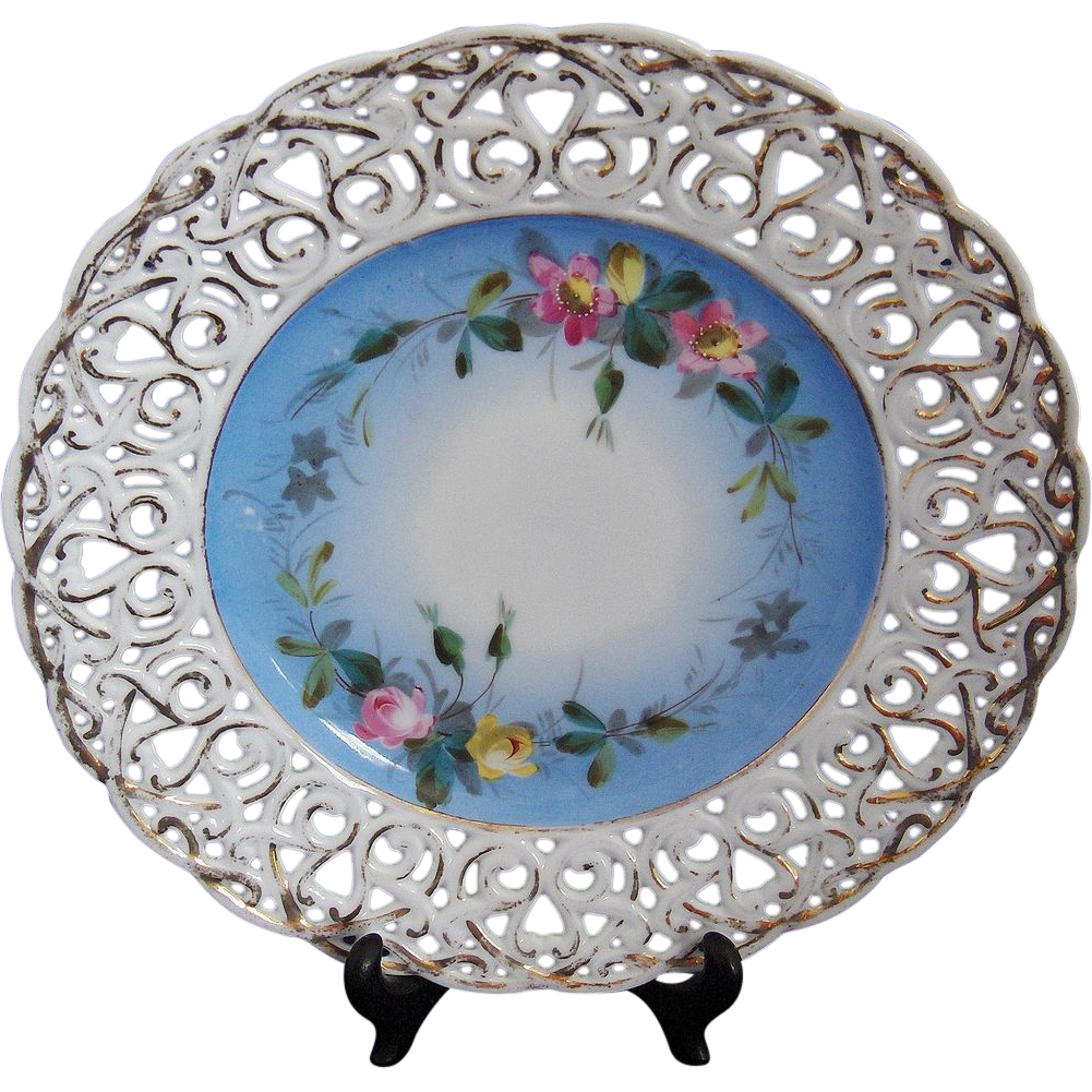 Carl Tielsch CT Bavaria Reticulated Blue and Floral Decor Dish