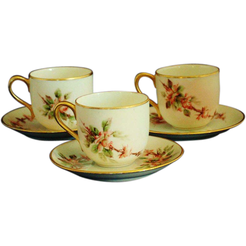 Vintage 3pc. Hand Painted Nippon Demitasse Cup & Saucer Sets