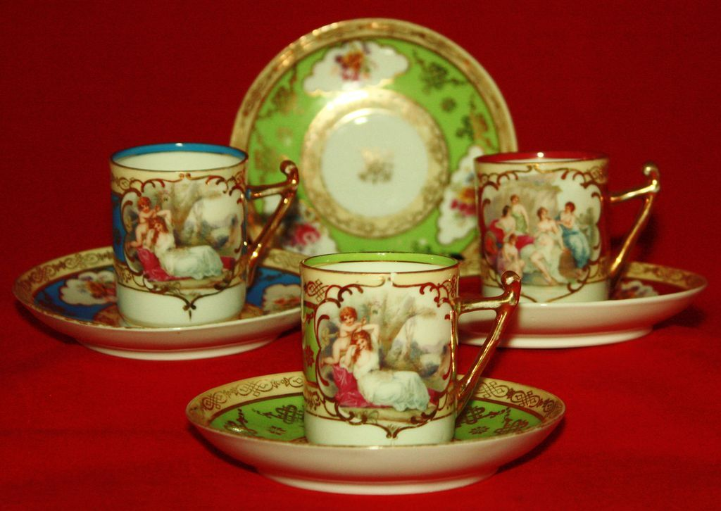 Antique Vienna Beehive Marked Demitasse Sets - Multiple Colors