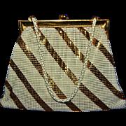 Vintage Whiting Davis White & Gold Striped Enamel Mesh Purse