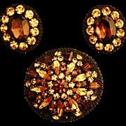 Vintage Warm Brown Topaz Jonquil Austrian Rhinestone Dome Brooch & Earring Set