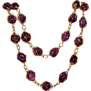 Natural Amethyst Gold Tone Wire Wrapped Necklace