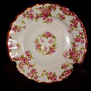 Vintage Elite Works Limoges Pink Floral Pattern Bread Dish