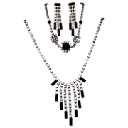 Elegant Jet Black & Clear Cut Glass Jewelry Set