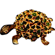 Vintage Goldtone Enamel Floral Back Turtle Pin / Brooch