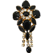 Fabulous High End Black & Clear, Gold Tone Brooch / Pendant