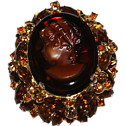 Juliana D&E Amber Stacked Cameo Brooch