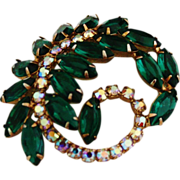 Extravagent Emerald Green Feather Brooch
