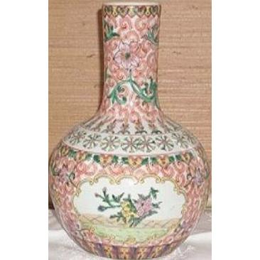 "Antique Chinese Export-Famille Rose  Bottle Vase 10 1/2"""