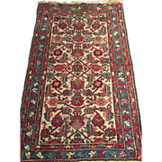 "Antique Persian Hamadan Oriental Rug, 2'5"" x 4' Cream, Egg Blue & soft Red, Vegetable Dyes-Free appraisal-Free shipping"