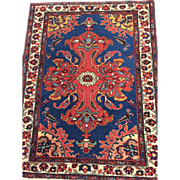 "Antique Persian Malayer Oriental Rug, 2'5"" x 3'2"", Blue with Coral/Red-Free appraisal-Free shipping"