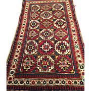 "Caucasian KAZAK Oriental Rug, ca. 1880 Vegetable dyes Wool with Wool foundation, 4'x 7'8""-Free appraisal-Free shipping"