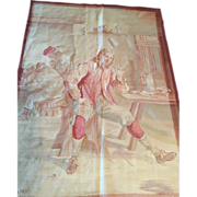 "Antique-late 18th c. Brussels Tapestry Wall Hanging Art--Man at the Pub- famous weaver ""MAISON ROSEL BRUXWLLES"" -4'4"" X 3'3"" Free appraisal-Free shipping"