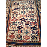 "Rare ZEYKHUR Caucasian Oriental Rug ,Geometric design, ca. 1880, 4' X 5'5""  hand knotted, Vegetable dyes $3950 Free appraisal-Free shipping"