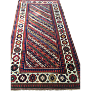 "Ganje Kazak Caucasian Oriental Rug, ca. 1890, 4' x 7'7"" Hand knotted Wool  using vegetable/natural dyes $7800 Free appraisal-free shipping"