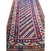 "Rare Antique Caucasian KAZAK Oriental Rug, 4' X 7'7"" ca. 1890 perfect Condition Free insurance appraisal-certificate of authenticity -Sale price-$6800"