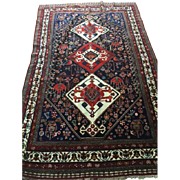 "Fabulous Antique Persian Qashqai Trial Oriental Rug, ca. 1890 Hand knotted of pure wool  using vegetable dyes-4'5"" X 7'2"" Free insurance appraisal- Free shipping"
