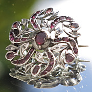 19C Antique French Silver Almandine Garnet Floral Brooch Art Nouveau