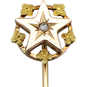 French 18K Gold Tie/Hat/Lapel Stick Pin Star w/Flower