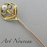 Early 20C French 18K Gold & Pearl Tie/Hat/Lapel Stick Pin Art Nouveau Style