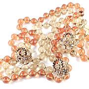 Amourelle Frank Hess Kramer Glass Bead Rhinestone Necklace Earrings Demi Parure Set