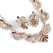 Vintage Rhinestone Festoon Garland Swag Necklace Earrings Demi Parure Set