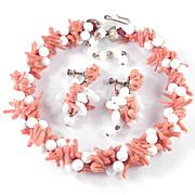 Vintage Branch Coral White Glass Bead Twist Necklace Dangle Earrings Demi Parure Set