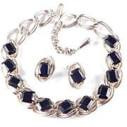 Vintage Jet Black Art Glass Rhinestone Necklace Earrings Demi Parure Set