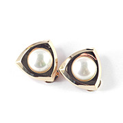 Vintage Christian Dior Faux Pearl Earrings Mid Century Modern