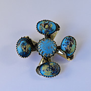 Freirich Easter / Dragon Egg Glass Cabochon Maltese Cross Brooch Pin
