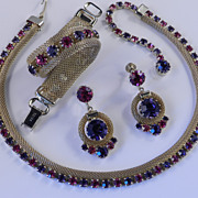 Weiss Rhinestone Mesh Necklace Bracelet Dangle Earrings Parure Set