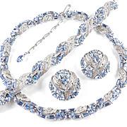 Trifari Rhinestone Necklace Bracelet Earrings Parure Set  Rhodium Plate