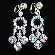Crystal Bead Chandelier Dangle Earrings