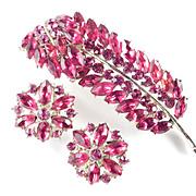 Weiss Red Rhinestone Leaf  Brooch Pin & Earrings Set Demi Parure
