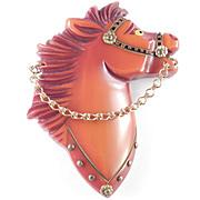 Bakelite Deeply Carved Horse Brooch Pin Brass Hardware Painted Eye Pristine