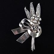 Hobe Sterling Silver Bow Floral Spray Brooch Pin