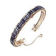 Miriam Haskell Glass Bead Hinged Bangle Bracelet