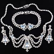 Jewels By Rosada Rhinestone Necklace Bracelet Earrings Parure Set w/ Box