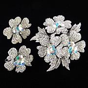 Rhinestone Crystal Margarita Brooch Pin Earrings Demi Parure Set