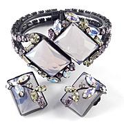 Designer Art Glass Rhinestone Japanned Clamper Bracelet Earrings Demi Parure Set