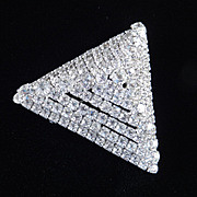 Huge Rhinestone Pyramid Triangle Brooch Pin