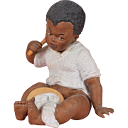 Heubach Black Boy Eating Porridge Figurine - 5.25 Inches Tall