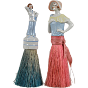 Two German Flapper Half Doll Boudoir Brushes