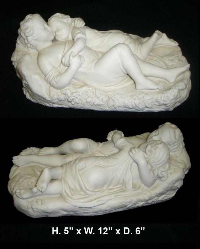 Antique Minton White Bisque Figural Group of  Sleeping Children